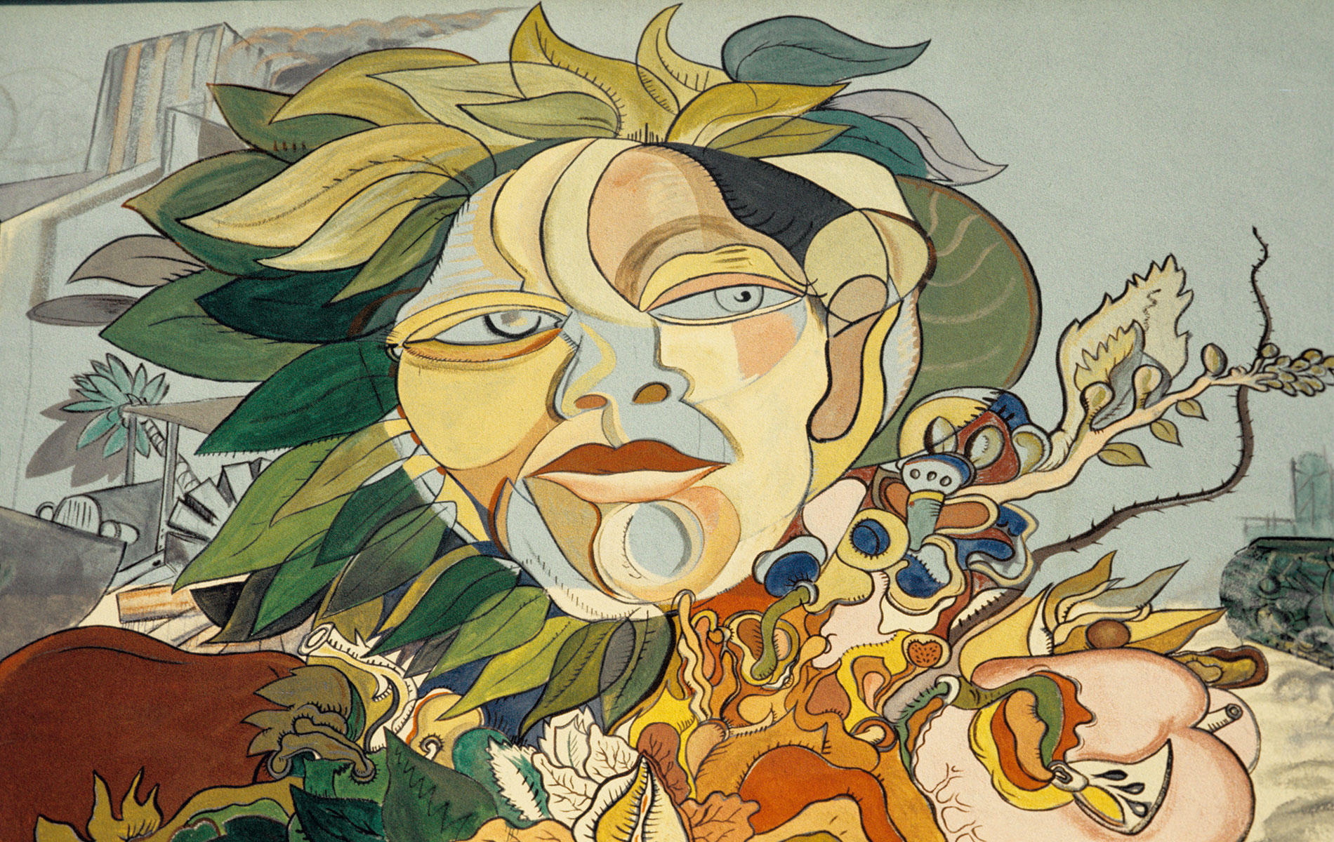 <h1>Mural detail, <em>The Path to Knowledge and the False University</em>, 1975</h1>