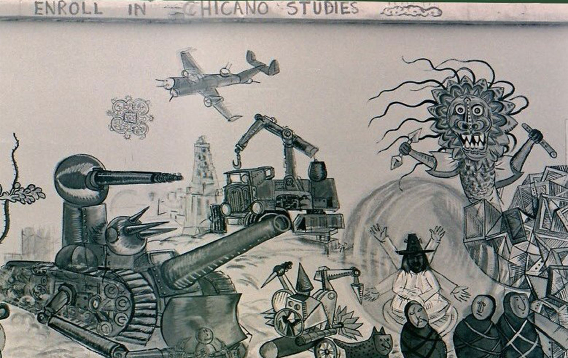 <h1>Mural detail, <em>The Path to Knowledge and the False University</em>,  c. 1974–1975</h1>