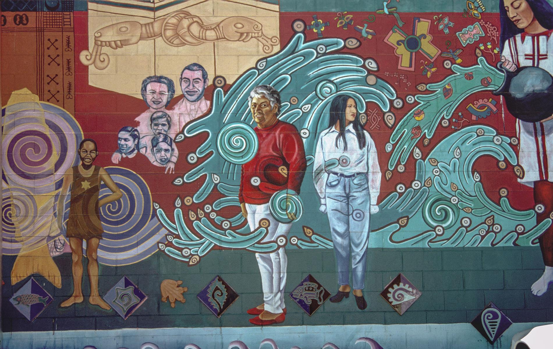 <h1><em>Mural detail, La Historia de Adentro/La Historia de Afuera</em>, c. 1995</h1>