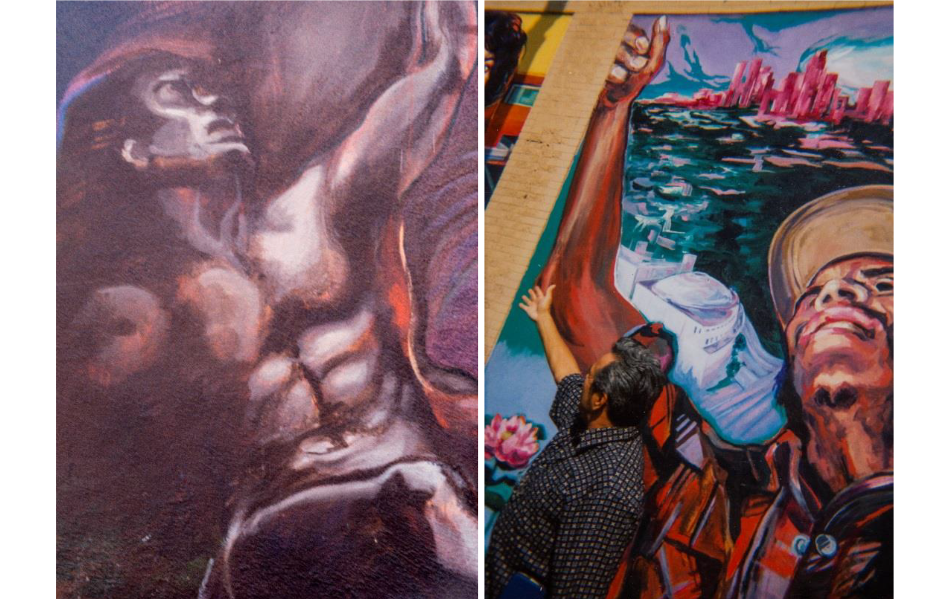 <h1>Mural details, <em>Resurrection of the Green Planet</em> (left) and <em>El Nuevo Mundo: Homage to the Worker</em> (right)</h1>