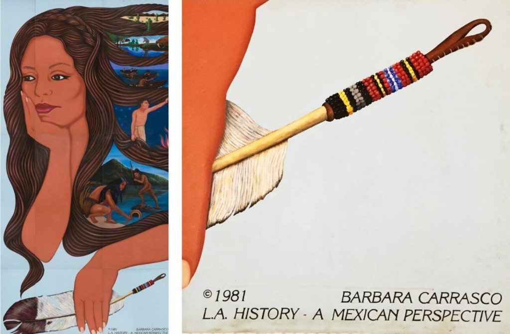 Details of L.A. History show its feminist perspective (left) and copyright symbol (right), 2017 California Historical Society/LA Plaza de Cultura y Artes Photos: Sean Meredith (left), Javier Guillen (right)
