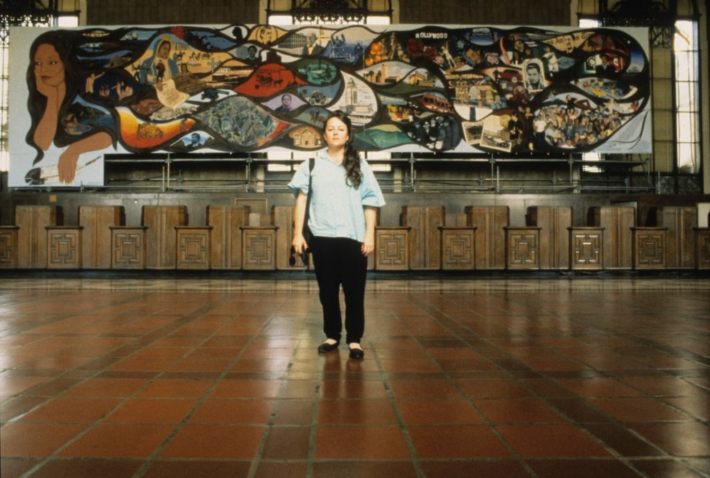 Barbara Carrasco and L.A. History: A Mexican Perspective at Union Station, 1990. Courtesy of Barbara Carrasco; photo: Harry Gamboa, Jr.
