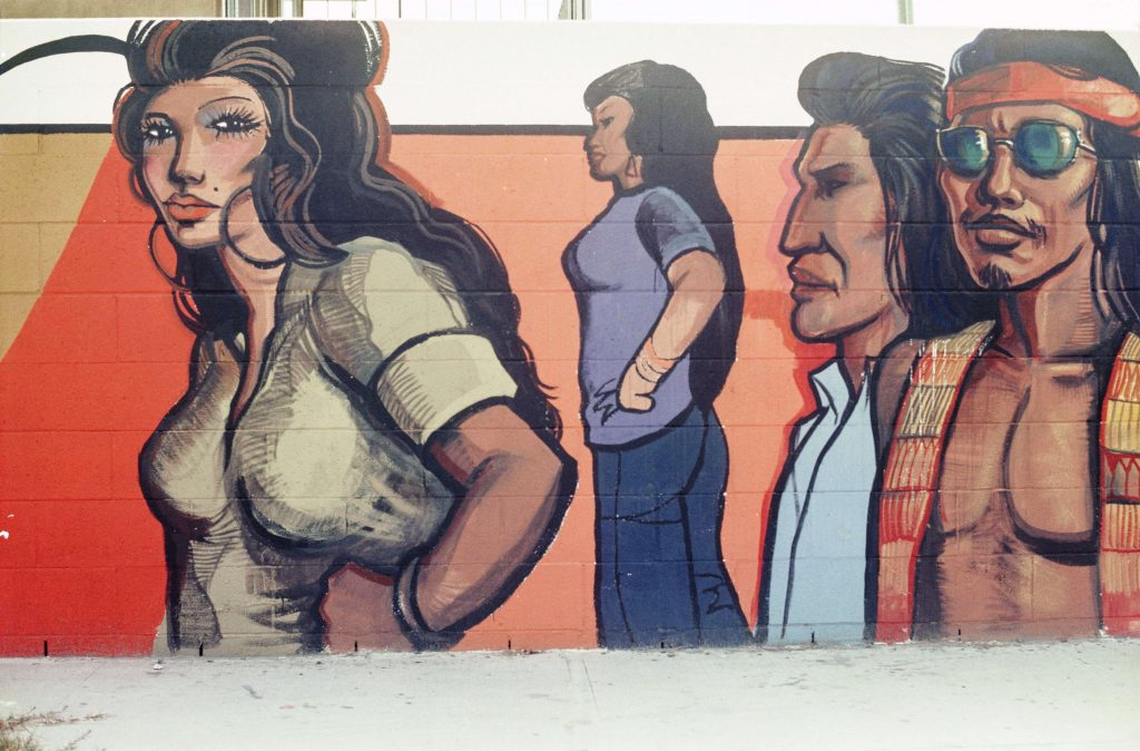 Mural detail of Chicana/o youth empowered by the Chicano Movement, c. 1976. Courtesy of the O'Cadiz Family Private Collection.