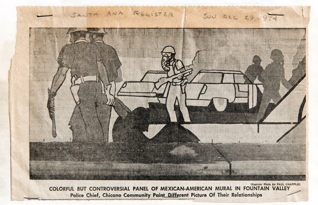 This Santa Ana Register clipping may be one of the few illustrations of the mural's contested scene. Courtesy of Shifra M. Goldman Papers, Department of Special Collections, Davidson Library, University of California, Santa Barbara; photo: Bill Dewey