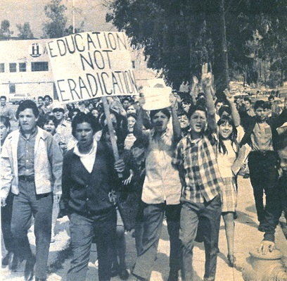 """Education Not Eradication,"" East Los Angeles High School Blowouts, March 1968. Courtesy https://www.laprogressive.com/east-la-chicano-movement/."