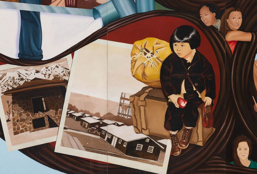 Mural detail, Japanese relocation and incarceration during World War II, 2017. California Historical Society/LA Plaza de Cultura y Artes; photo: Sean Meredith.