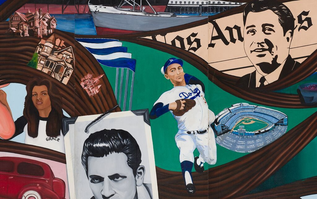 Mural detail, Ruben Salazar (top right), Dodger Stadium (center right), Bunker Hill (top left), 2017. California Historical Society/LA Plaza de Cultura y Artes; photo: Sean Meredith.