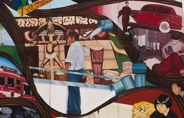 David Alfaro Siqueiros observes the whitewashing of his controversial mural América Tropical (1932) in a detail from Barbara Carrasco's censored mural, L.A. History: A Mexican Perspective (1981) Photo: Sean Meredith; courtesy LA Plaza de Cultura y Artes and California Historical Society