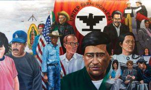 Mural detail, Emigdio Vasquez, The Legacy of César Chávez (1997), Santa Ana College, California, http://chicanoartmovement.com