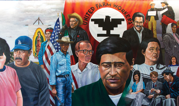 Mural detail, Emigdio Vasquez, The Legacy of César Chávez (1997), Santa Ana College, California, http://chicanoartmovement.com