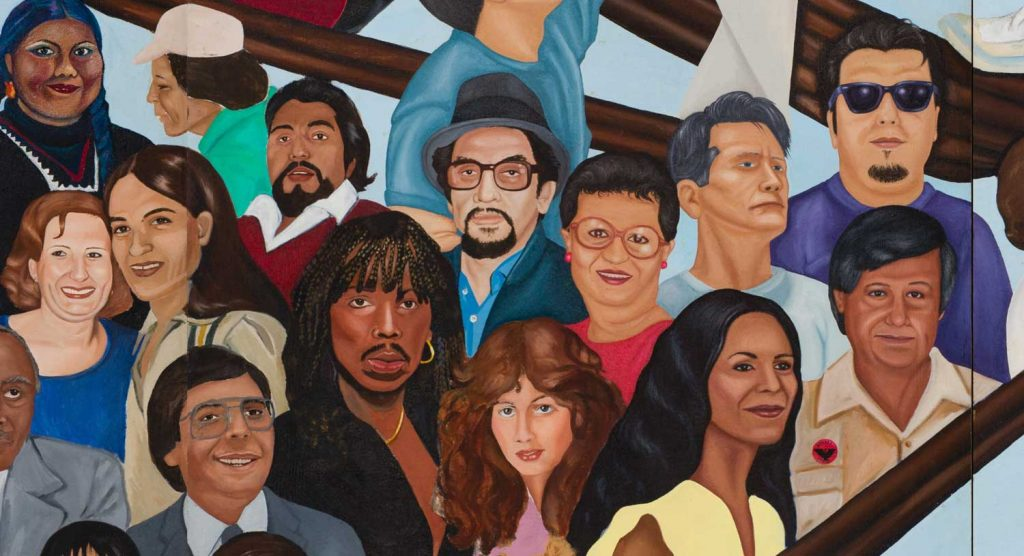 Mural details, L. A. History: A Mexican Perspective, 1981 Courtesy LA Plaza de Cultura y Artes/California Historical Society Photos: Sean Meredith, Javier Guillen (copyright detail), 2017